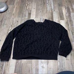 VS pink black velour cheetah print crew sweatshirt
